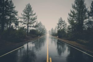 Rainy, wet roads